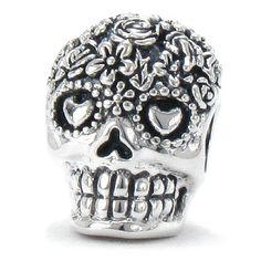 ARRIVING NEXT WEEK ON AMAZON - Only At Bella Fascini:  Bouquet Dia De Los Muertos - Day Of The Dead Decorated Sugar Skull - 925 Sterling Silver European Charm Bracelet Bead Fits Pandora, Chamilia, Charmed Memories & All Compatible Brand Bracelets.  Cole Collection Exclusive.