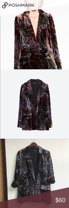 Zara // Paisley Velvet Blazer In excellent condition, basically new. No trades or low balls. Colors accurately shown in model photo, my lighting was a little off. Zara Jackets & Coats Blazers