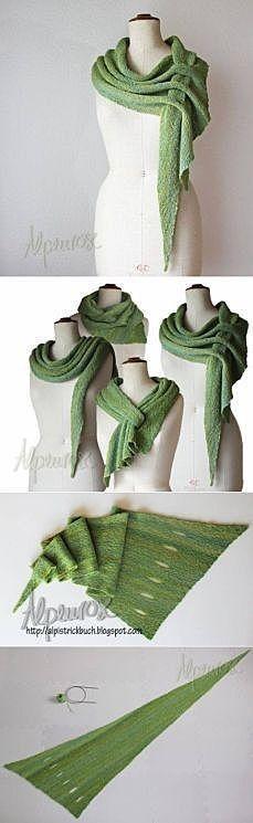 Knitting Patterns Clothes interesting idea for shawls / Knit / Crochet shawl spokes Crochet Scarves, Crochet Shawl, Knit Crochet, Knitting Scarves, Crochet Stitches, Knitting Projects, Knitting Patterns, Sewing Patterns, Crochet Patterns