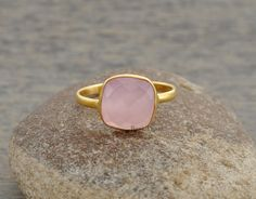 Pink Chalcedony Cushion Gemstone Micron Gold Plated 925 Sterling Silver Bezel Ring Jewelry, 10mm #1074 by BaniThani on Etsy https://www.etsy.com/listing/187785471/pink-chalcedony-cushion-gemstone-micron