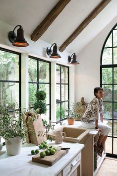 Kitchen windows and rustic beams