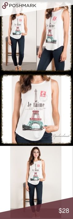 """""""Je T'aime Paris"""" Graphic Tank Top Dream of being in the city of lights when you wear this graphic tank top.  Wear alone or as a layering piece.  Perfect under a jean jacket. Je T'aime Paris Tank Top. 95% RAYON 5% SPANDEX.  MADE IN USA. Chest measurements:  small is 16"""" across.  Medium is 17"""" across. Tops Tank Tops"""