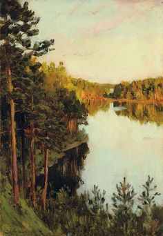 Artwork by Isaak Levitan, Lake in the forest, Made of oil on paper laid down on board Russian Landscape, Landscape Art, Landscape Paintings, Russian Painting, Russian Art, Watercolor Trees, Paintings I Love, Plein Air, Painting Inspiration