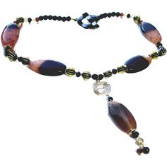 Bead Necklace, Brown Black Agate, Pendant Necklace, Fashion Jewelry,... ($40) ❤ liked on Polyvore featuring jewelry and necklaces