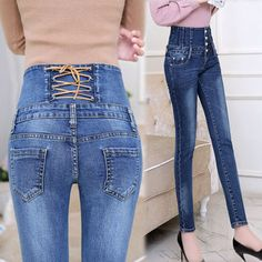 Spring High Waist Elastic Skinny Denim Black Cross Woman Jeans