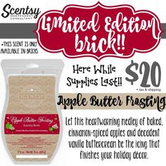 Let this heartwarming medley of cinnamon-spiced apples and decadent vanilla buttercream be the icing that finishes your holiday decor :) Ask me about the Apple Butter Frosting Scentsy Brick available while supplies last at https://casies.scentsy.us/Buy/ProductDetails/36112