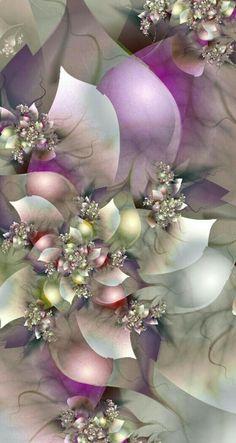 Lovely fractal flowers in pastel colors. Art Fractal, Fractal Images, Fractal Design, Et Wallpaper, Wallpaper Backgrounds, Iphone Wallpaper, Screen Wallpaper, Butterfly Wallpaper, Cellphone Wallpaper
