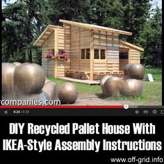 "Please Share This Page: DIY Recycled Pallet House With IKEA-Style Assembly InstructionsPhoto – http://www.youtube.com/watch?v=3M2j5SIPC6U Old shipping pallets, or ""skids"", are enjoying a lot of press lately because they have become a popular resource for all kinds of creative upcycling ideas! The two architects that put this short video together are part of a elite group …"