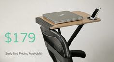 """StorkStand, portable, adjustable """"standing desk"""" that attaches to the back of a chair."""