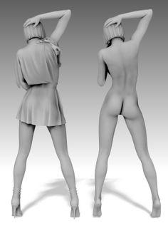 Модель девушки в юбке и без! Форматы: max(c текстурами), fbx, c4d,obj Ссылка на скачивание