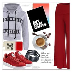 """""""But First Coffee"""" by mycherryblossom ❤ liked on Polyvore featuring ban.do, adidas Originals and Kate Spade"""