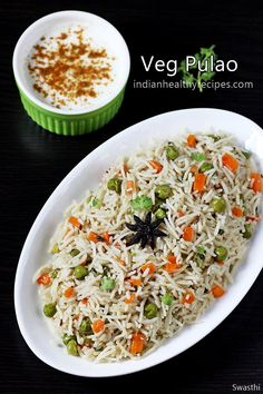 pulao recipe – an easy one pot Indian rice pilaf cooked with mild spices and veggies. Pulao or pulav is one of the most common rice dishes that is often made in most Indian homes. It is also the one m (How To Cook Mix Vegetables) Lunch Box Recipes, Vegetable Recipes, Vegetarian Recipes, Cooking Recipes, Healthy Recipes, Easy Rice Recipes, Vegetable Curry, Vegetarian Soup, Cooking Food