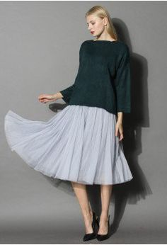 Ethereal Tulle Mesh Midi Skirt in Grey - Bottoms - Retro, Indie and Unique Fashion