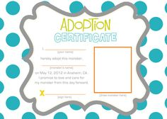 Adopt A Monster Certificate Free Download  Google Search