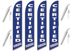 Windless Swooper Flag Kit 4 Pack CERTIFIED PRE-OWNED Blue & White #EHTFlags