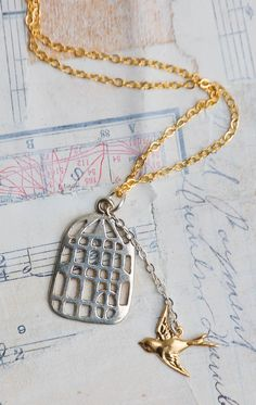 FLY FREE  Necklace Gold Sparrow Silver Birdcage