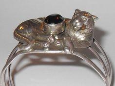 Vintage Carol Felley Sterling Silver Onyx Cuff Bracelet Wide Tiger Cat signed 90 #CarolFelley #Cuff