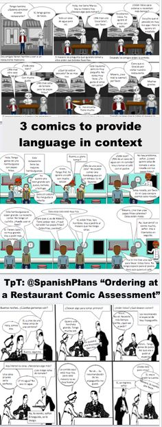 Provide Students with these comics to introduce Spanish Restaurant vocabulary (how to order) in context. Also includes blank comics to be used for assessment. Spanish Teacher, Spanish Class, Spanish Food, Spanish Language Learning, Teaching Spanish, Best Teacher Ever, World Languages, French Language, Teacher Resources
