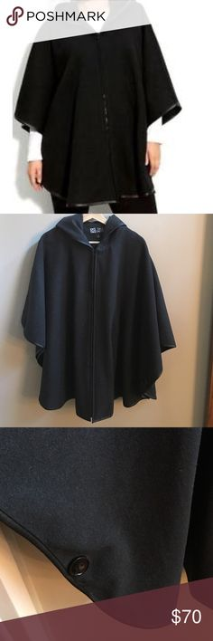 Dale Dressin dark gray hooded cape Very soft and warm dark gray cape with black faux leather trim. Can fit lots of different sizes. In excellent condition. dale dressin Jackets & Coats Capes