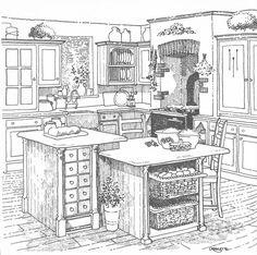 Kitchen Sketch Shadows And Highlights Really Make A Rendering Darkest Darks And Lightest Lights Parson