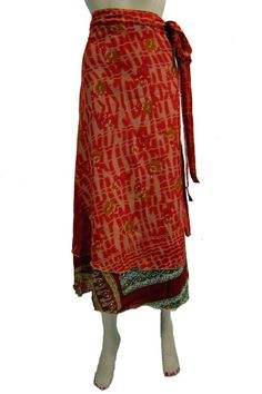This casual & sexy wrap around skirt has airy feel in summer.The waist is open. The waist is 45 inches.This long & vintage style skirt looks so cute & sexy!! & gives the cool look in summers.Being hand crafted in India,each of these skirts has a unique finish.Good quality silk printed. A Designer Piece.