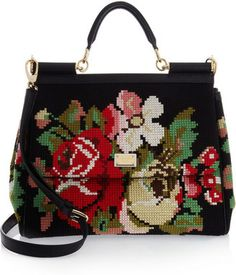 Dolce  Gabbana Miss Sicily wool tapestry and leather tote