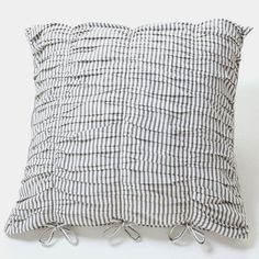 Our ticking stripe in faded black and white, is a fresh and modern take on this classic print.Classic euro pillowcase with self-ties.Pillowcases are sold separately. Natural Bedroom, Bedclothes, Ticking Stripe, Home Reno, Ticks, Quilt Cover, Linen Bedding, Pillow Cases, Home And Garden