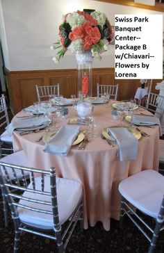 Swiss Park Banquet Center, Whittier CA-- Pacakge B with peach full length tablecloths, silver napkins and silver Chiavari Chairs. Centerpieces of tulips, hydrangeas, roses and succulents provided by Flowers by Lorena, Chino CA Chiavari Chairs, Centerpieces, Table Decorations, Tablecloths, Hydrangeas, Banquet, Tulips, Succulents, Napkins