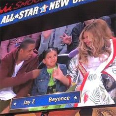 """Beyoncé, Jay Z, and Blue Ivy attend the 2017 NBA All-Star Game in New Orleans, Louisiana. """