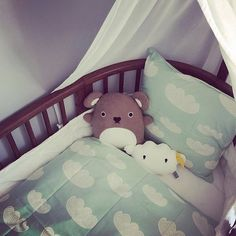 Wrap your little ones in a nice Cloud printed bedding made by 100% Organic Cotton.  ferm LIVING Cloud Bedding - http://www.fermliving.com/webshop/shop/cloud-bedding-5.aspx