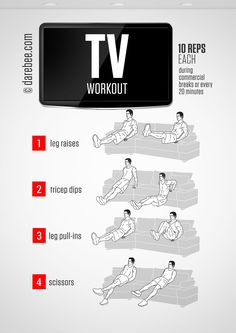 No-equipment TV bodyweight workout for all fitness levels. Print & use.