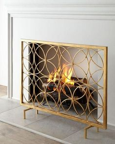 A collection of decorative fireplace screens for sale online. Modern metal fireplace screens, gold Art Deco firescreens, affordable colorful fireplace screens and more! Decor, Decorative Fireplace Screens, Gold Fireplace Screen, Fireplace Screens, Home Fireplace, Art Deco Interior, Fireplace Accessories, Home Decor, Holiday Living Room