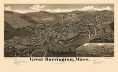 Old Map of Great Barrington Massachusetts 1884 Berkshire County Poster