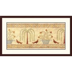 """East Urban Home 'Willow Basket Border' Print Format: Framed, Size: 24.9"""" H x 44.4"""" W"""