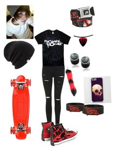 """""""My chemical romance skater boy"""" by samantha-kidwell ❤ liked on Polyvore featuring Topshop, Misbehave, Coal, Sunset Skateboards and Converse"""