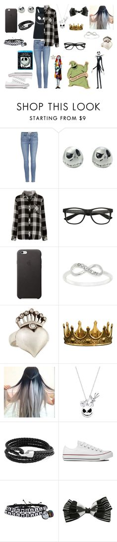 """The Nightmare Before Christmas"" by bethie3313 ❤ liked on Polyvore featuring Frame Denim, Rails, City x City, Irit Design, Disney, Bling Jewelry and Converse"