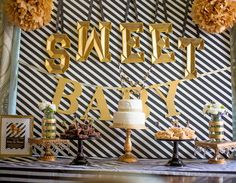 Gorgeous black and gold baby shower party! See more party planning ideas at CatchMyParty.com!