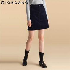 Джордано Женщины, выше колена Faldas вельветовые Модные женские юбка Fly Карманы Одежда для девочек брендовая одеждакупить в магазине Giordano Official StoreнаAliExpress