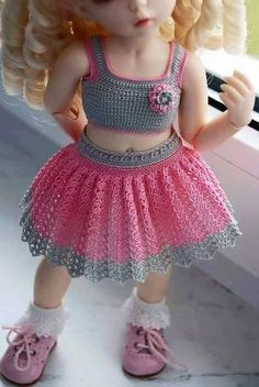 Oh so cute Croshet doll dress American Girl Crochet, Baby Girl Crochet, Crochet Doll Dress, Crochet Doll Clothes, Ag Doll Clothes, Doll Clothes Patterns, Baby Dress Patterns, Crochet Patterns, Couture