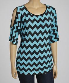 Another great find on #zulily! Teal & Black Zigzag Cutout Top - Plus by ARIA FASHION USA #zulilyfinds