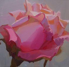 rose, floral, pastel, demo painting, square, bold, red, orange