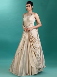 Cowl Style Beige Color Gown In Satin Fabric latest design in gown designer gown for reception function latest design in gown for wedding Designer New Design Gown, Latest Gown Design, Indian Wedding Gowns, Indian Gowns Dresses, Indian Weddings, Gown Wedding, Designer Evening Gowns, Designer Gowns, Designer Wear