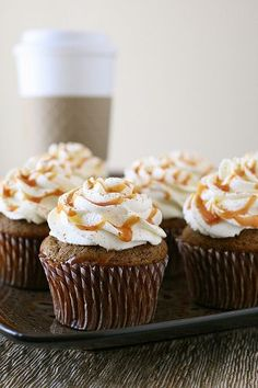 Pumpkin Spice Latte Cupcakes  –  Annie's Eats I made this recipe but I baked it into a cake pan instead & had to bake an extra 7 minutes. Really delicious!