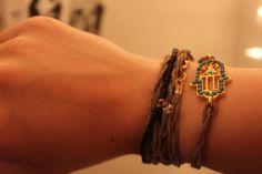 Braided Hemp Hamsa Hand Bracelet