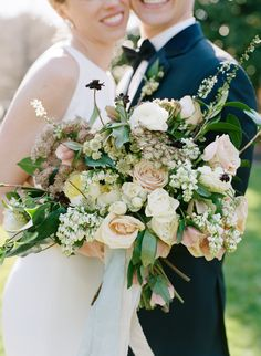 wedding bouquet with twine and ribbons - Google Search