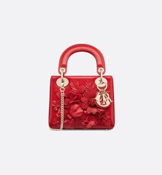 "Mini ""Lady Dior"" bag in crackled red lambskin with embroidered flowers, detachable chain. Christian Dior Bags, Lady Dior, Embroidered Flowers, Women's Fashion, Chain, Search, Mini, Google, Research"