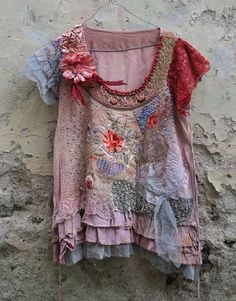 Peonyromantic embroidered tunic top textile by FleurBonheur, $322.00 (it rocks but so does the price:-) by montse.esquivel.779