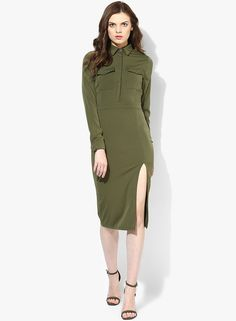 f337ef8971 Buy Missguided Olive Solid Thigh Split Midi Shirt Dress for Women Online  India