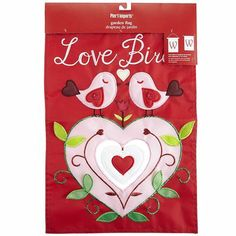 """Love Birds Garden Flag Description: We think these two may be the original love birds, what with their heart-shaped wings and tails. No wonder they're commemorated on this bright, durable garden flag. Details: Nylon, polyurethane foam, plastic beads, rayon Spot clean only For indoor/outdoor use Multicolor 12.25""""W x 0.20""""D x 18""""H"""