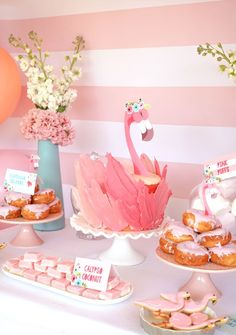 Fabulous Flamingo Birthday party with awesome Flamingo Party Cake. Lots of pink party decor for a girl's birthday party.